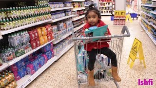 Good Baby Ishfi Went to Grocery Shopping with Mummy and Daddy