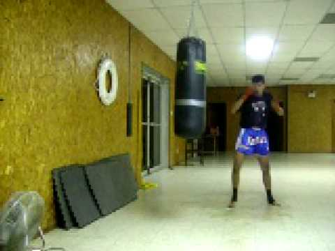 Heavy Bag Drills Leg Technique Training Image 1