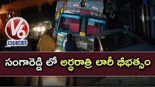 Lorry Hits A Current Pole And 3 Cars In Sangareddy | Drunk Driver