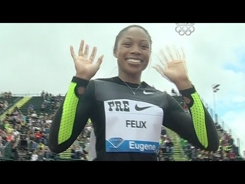 Allyson Felix big win in 200m at 2012 Pre Classic