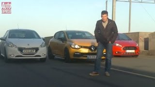 Ford Fiesta ST vs Peugeot 208 GTi vs Renault Clio RS - Auto Express