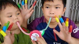 Đồ chơi trẻ em bé pin 100% kẹo món tay Hubba Bubba ❤ PinPin TV ❤ Baby toys candy