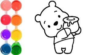 How to draw & color winnie pooh | family art cartooning | step by step drawing tutorial