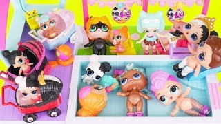 Spice and Bon Bon Baby Custom Big LOL Surprise Dolls Strollers + Lil Sisters in Shopkins Pool Video