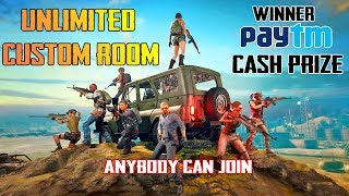 PAYTM CASH PRIZE CUSTOM ROOM I UNLIMITED CUSTOM ROOMS I PUBG MOBILE LIVE I ANYONE CAN PLAY