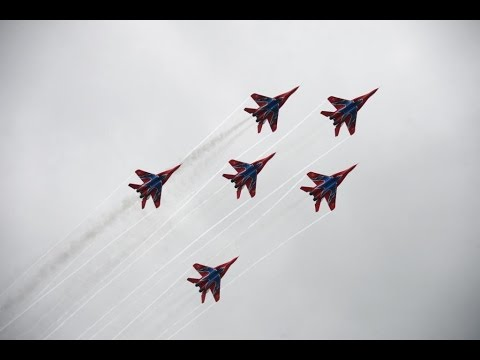 Russian aerobatic teams perform spectacular stunts
