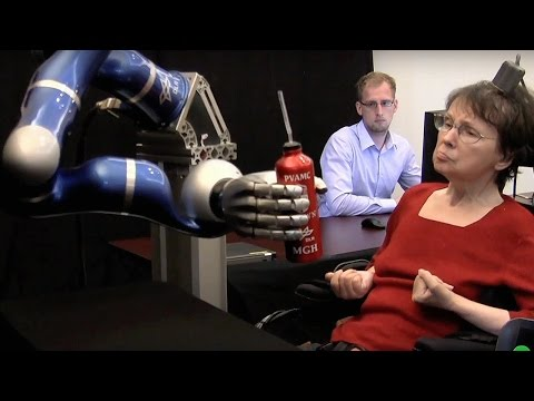 Paralyzed Woman Controls Robotic Arm With Thoughts - Dara Ó Briain's Science Club - Brit Lab - BBC