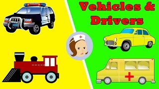 Street Vehicles For Kids | Fire Engine, Police Car, Ambulance, Train Engine, Taxi, Rocket