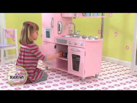 Cuisine vintage rose jouets en bois kidkraft sur for Cuisine rose kidkraft