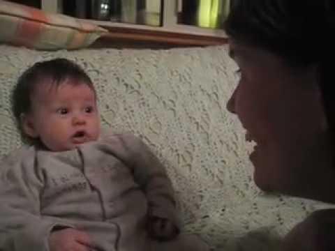Week old baby talks back