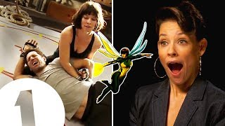 """I did trap Paul Rudd in my crotch!"" Evangeline Lilly on The Wasp's kick-ass fighting style."
