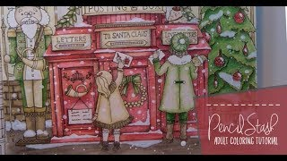 Making it SNOW!  And a NO-BLUE Christmas Page Challenge - A PencilStash Coloring Tutorial