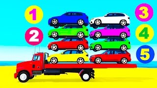 Cars on Truck - Learn Colors w Color Cars for Kids Spiderman Cartoon for Kids - Nursery Rhymes