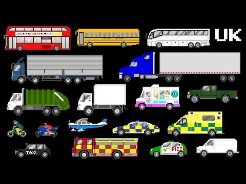 Vehicles: UK Version - Street Vehicles - Lorries, Trucks, Buses & More - The Kids' Picture Show