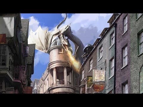Universal Orlando Diagon Alley Concept Art - Harry Potter Escape from Gringotts, Hogwarts Express