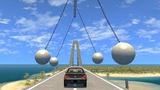 Beamng drive - Pendulum swinging Balls against Cars