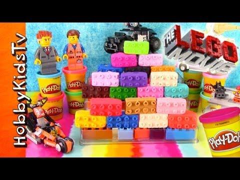 20 PLAY-DOH Lego Movie Surprise Toy Egg Bricks! Emmet, Lord Business, Batman, Ice Cream