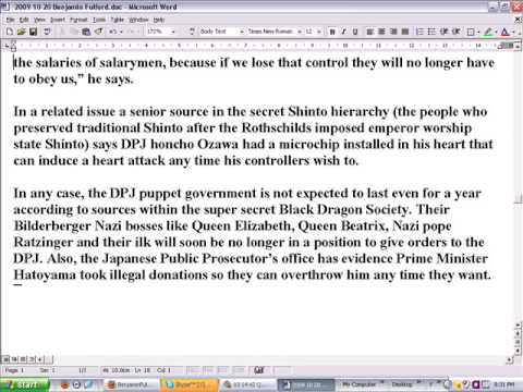 2009-10-20 Ben Fulford new Japanese government is a secret dictatorship controlle