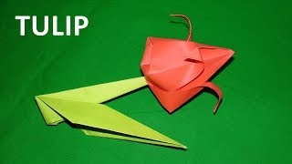 How to make a paper tulip - origami tutorial. Educational video for children