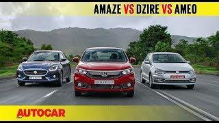 Honda Amaze vs Maruti Dzire vs VW Ameo | Diesel Auto Comparison Test | Autocar India
