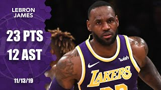 LeBron James posts 23 points and 12 assists in Warriors vs. Lakers | 2019-20 NBA Highlights