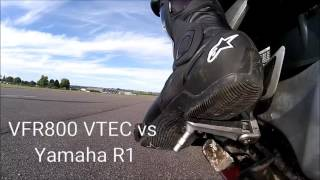 VFR800 VTEC vs Yamaha R1 0-60 0-100 0-125 Henstridge Airfield