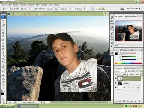 Como colocar paisagem no fundo da imagem no photoshop cs3 imagem fundo