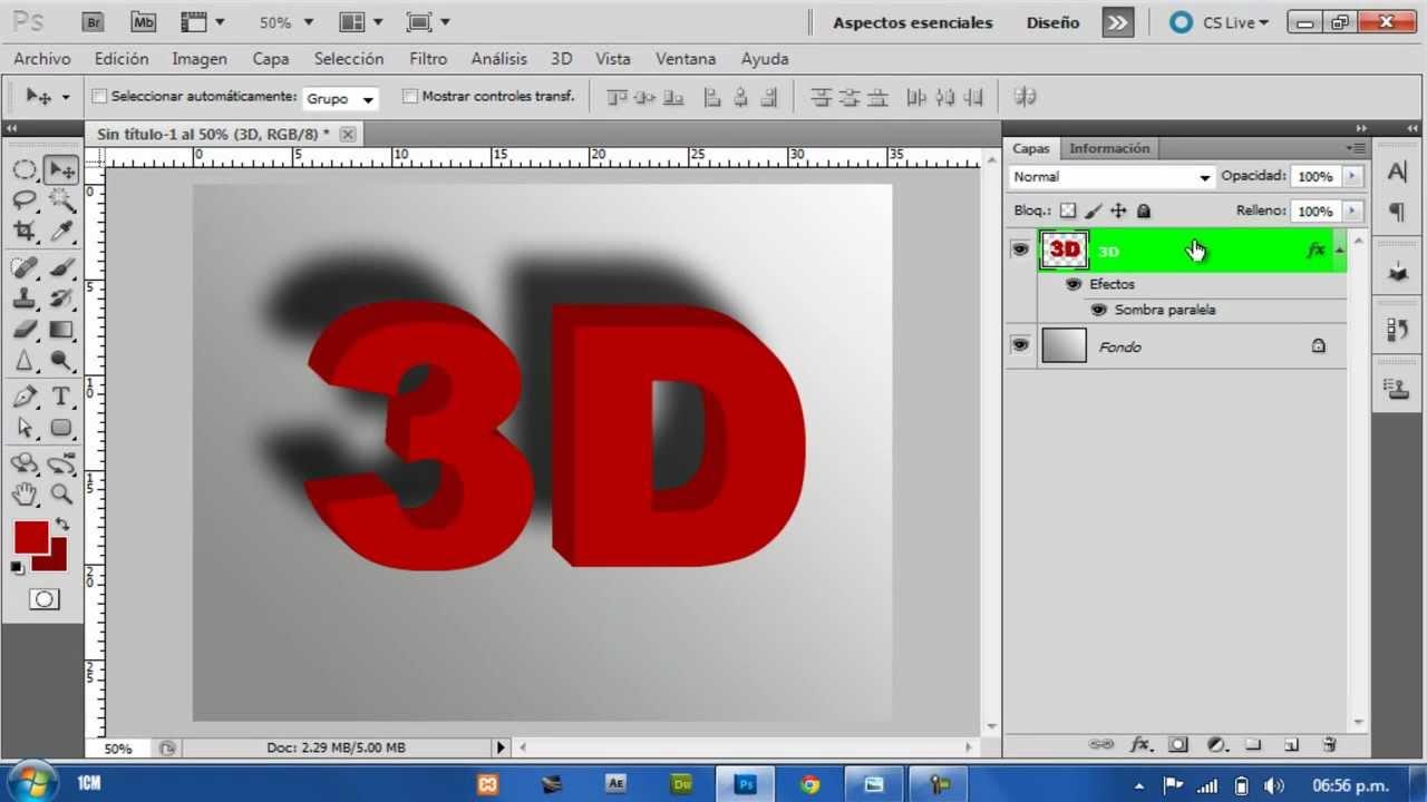 Как сделать на фотошопе 3d текст