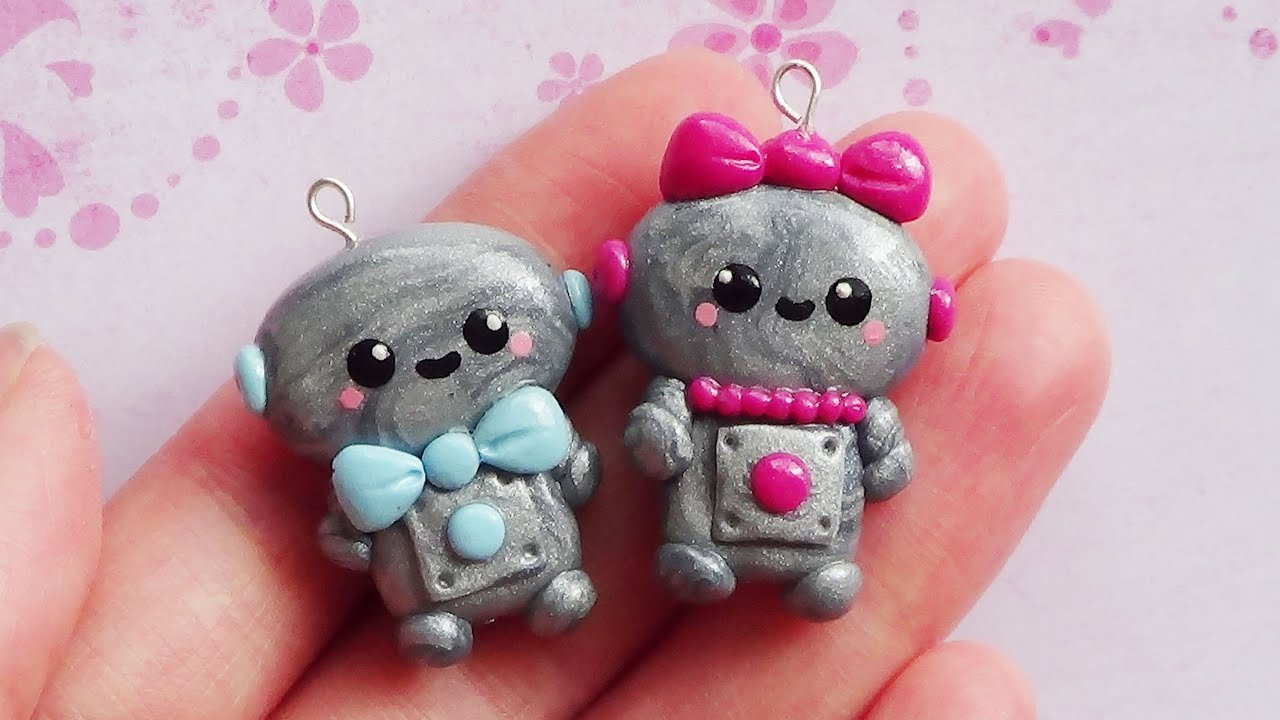 Valentines Day Robot Charms Polymer Clay Tutorial