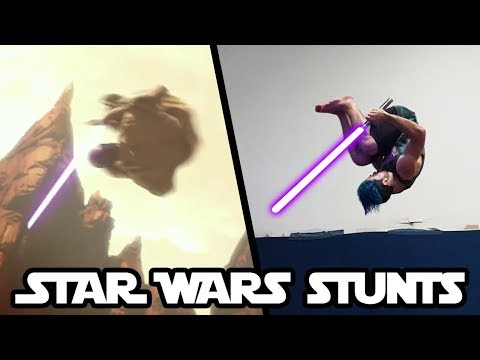 Doing Stunts From Star Wars In Real Life   part 2 (Lightsaber flips)