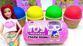 Play Doh Ice Cream Cups Surprise Eggs Slime Squishy LOL Doll Princess Ariel with Blind Bags