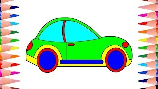 How to Draw a Car for Kids | Learn Colors for Kids with Coloring Video | Car Coloring Pages