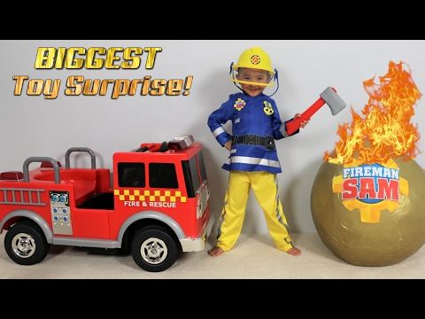 BIGGEST Fireman Sam Toy Collection Ever Giant Surprise Egg Opening Fire Engine Truck Ckn Toy