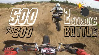 500 VS 300 2STROKE SUPERMOTO BATTLE + CRASH