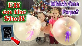 Purple & Pink Elf on the Shelf - Elves Caught in Giant Balloons! One POPS!!! Day 20