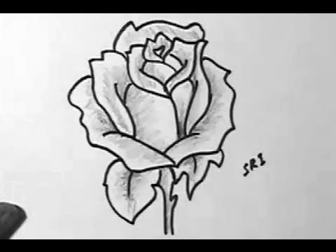 How to draw a rose flower image easy drawing with shading for Easy to draw roses for beginners