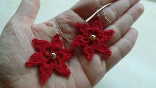 CROCHET How to #Crochet Flower Earrings Thread #TUTORIAL #232 LEARN CROCHET