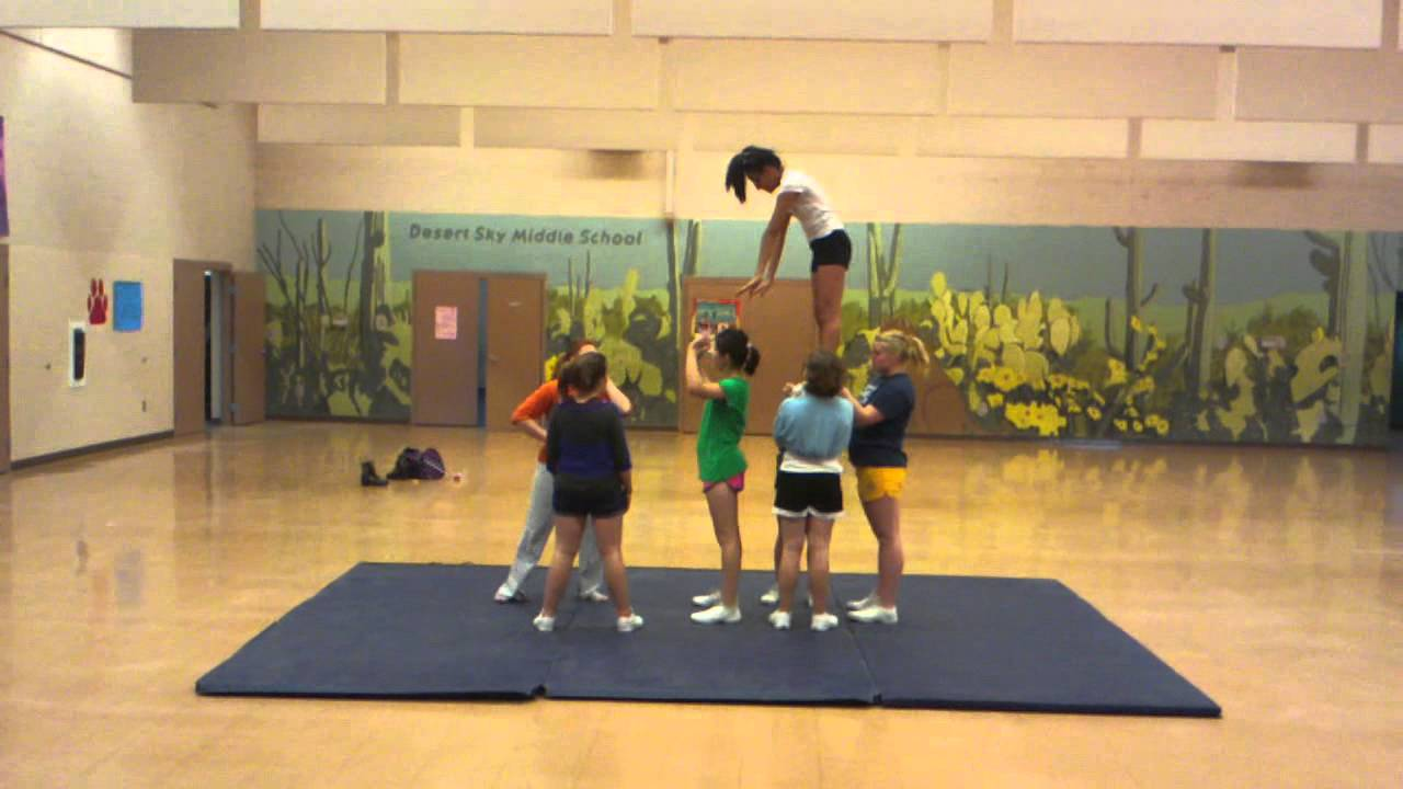 Awesome middle school cheer stunt! - YouTube