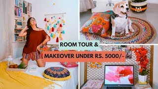 ROOM TOUR + MAKEOVER UNDER RS. 5000/- (DIY, Budget buys, Boho Style)