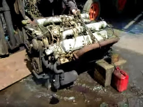 Perkins V8 diesel engine running.