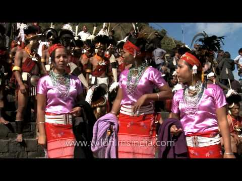Participants from Garo tribe in traditional attires at the Nagaland Hornbill festival 2012