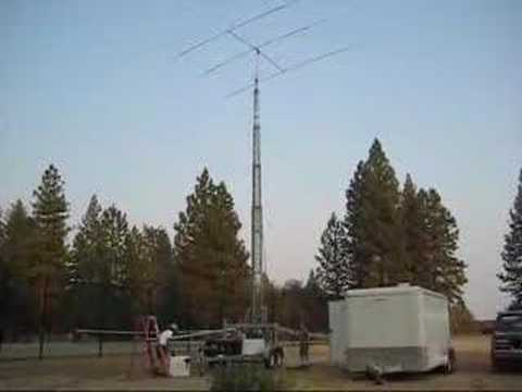 Raising the 75 foot amatuer radio antenna tower
