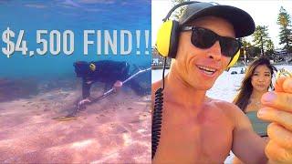 LADIES EXCITED!! $4,500 Unbelievable GOLD Treasure Find Underwater Metal Detecting Shark Alert!!
