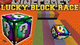 Minecraft: RAINBOW DIMENSION LUCKY BLOCK RACE - Lucky Block Mod - Modded Mini-Game