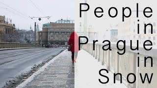 People in Snow in Prague