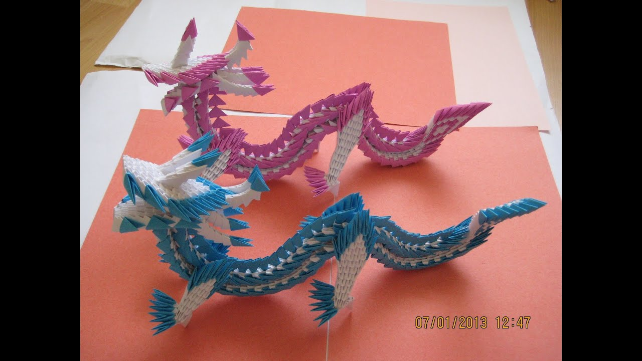 3D Origami Dragon (867 pieces) - YouTube - photo#10