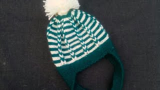 New style two colour Baby cap knitting step by step