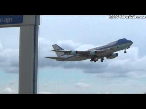 President Obama takeoff from Rome Fiumicino airport on board at Air Force One