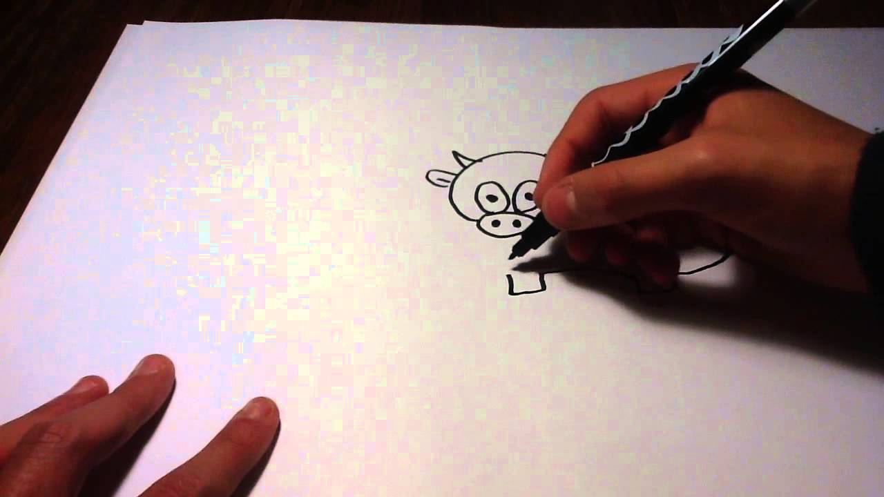 Dessiner une vache animal cartoon youtube - Dessiner une vache ...