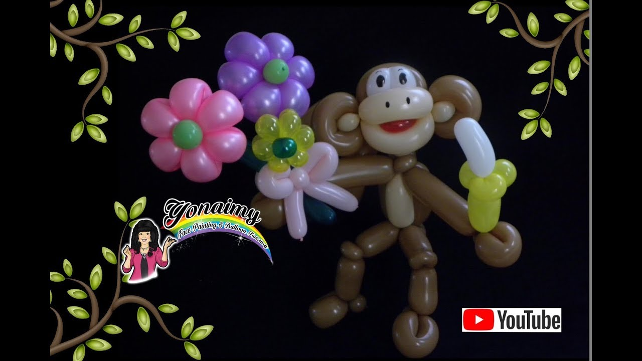 Chango con flores monkey with flowers youtube - Hacer flores con globos ...